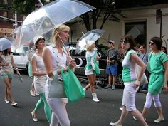 safe clothing fashion show for deitch projects art parade #rebeccaturbow #safeclothing #teal #white #mod