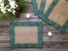 Burlap Placemats with DARK GREEN Lace - Country Wedding, Rustic Country Wedding, Farmhouse Decor, Rustic Country Home, French Country Decor Rustic Wedding Alter, Wedding Country, Lace Wedding, Dream Wedding, Rustic Farmhouse Decor, Rustic Decor, Rustic Placemats, Rustic Table Runners, Green Lace