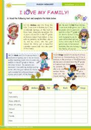 """""""I Love My Family"""" - The (of -- Reading leading to writing for Elementary and Lower intermediate students - ESL worksheet by Comprehension Worksheets, Vocabulary Worksheets, Worksheets For Kids, Reading Comprehension, Seasons Worksheets, English Activities, Writing Activities, Teaching Resources, English Lessons"""