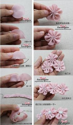 Best 12 Cloth flower making is fun and easy. These cloth flowers look so pretty and are great for adding to brooches, hair clips and necklaces.Ribbon Sakura or plum blossomsThis Pin was discovered by Flo - Sa Diy Hair Bows, Diy Bow, Diy Ribbon, Ribbon Crafts, Flower Crafts, Fabric Crafts, Ribbon Work, Ribbon Hair, Cloth Flowers