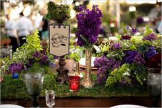 medieval table decor/centerpieces little flags