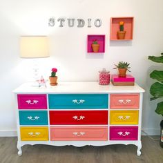 bright painted furniture. bright painted dresser diy furniture