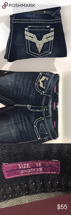 Vigoss Bling Pocket Premium Dark Wash Jeans Size: 11 length: 33 I bought these when I worked at Maurices and have only worn them a handful of times. I'm currently downsizing to move. Smoke and pet free home, no trades 💕 Vigoss Jeans Boot Cut