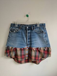 Your marketplace to buy and sell handmade items. Upcycled grunge flannel Levi denim skirt altered clothing denim skirt flannel rustic farm girl super cool comfortable c Jean Crafts, Denim Crafts, Upcycled Crafts, Most Comfortable Jeans, Comfortable Outfits, Grunge Fashion, Denim Fashion, Fashion Boots, Jean Diy