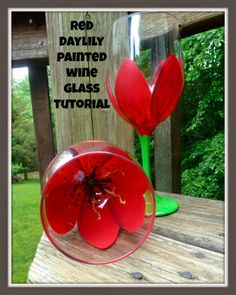 Red daylily painted wine glass tutorial