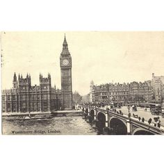 1920s Vintage Postcard Westminster Bridge London England ($6.50) ❤ liked on Polyvore featuring home, home decor and post-card