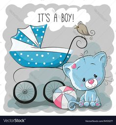Illustration of Greeting card it's a boy with baby carriage and dog vector art, clipart and stock vectors. Baby Design, Baby Announcement Cards, Baby Painting, Baby Shawer, Baby Carriage, Baby Cards, Cute Cartoon, Emoji, Cute Babies