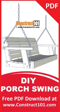 Porch swing plans. Build it yourself projects, free PDF download. Includes shopping list, cutting list, drawings, and measurements.