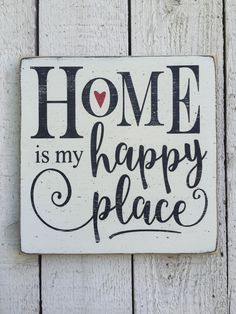 """Home is my happy place - 11"""" x 11"""" wood sign, black and white decor, farmhouse decor, cottage wall decor, gift for mom, gift for new home"""