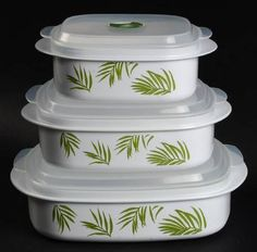 Corning Bamboo Leaf (Corelle) (Set of 3) Square Microwave Bowl w/Vent Lid