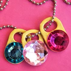 How to turn regular soda can tabs into a beautiful Soda Tab Gemstone Necklace, a great kids craft that girls will love!
