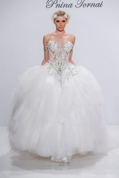Pnina Tornai for Kleinfeld 4538 Ball Gown Wedding Dress White Wedding Gowns, Wedding Party Dresses, Gown Wedding, Elegant Wedding, Wedding Ceremony, Disney Princess Dresses, Princess Ball Gowns, Bridal Gown Styles, Bridal Gowns