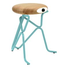 Compainon by Phillip Grass. Poetic and humoristic stools that evoke anthropomorphic characters. Companion offers you an extra seat, a small table, or a funny piece of art.