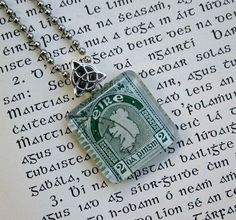 Map of Ireland vintage postage stamp necklace, by CrowBiz on Etsy.  More Irish stamps and styles available.