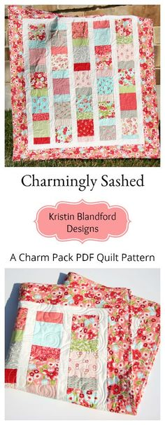 Charm Pack Quilt Pattern in PDF File Fabrics, DIY Quilting Ideas, Pre-cut Quilt Pattern, Bonnie and Camille Moda Fabrics, Ruby,  Baby and Throw, Quick Simple Easy, Sewing Ideas, Instructions, Charm Pack Pattern by Kristin Blandford Designs #charmpackpattern #quilting #sewing #pdfquiltpatterns