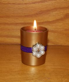 Boho Wedding  / Wedding Votive Candle by CarolesWeddingWhimsy, This set of 6 Purple and Gold Wedding Votive Candle Holder – Purple and Gold Wedding Decorations with Pearl Brooch is the perfect Boho Wedding Decoration or any special event.  They can be found here https://www.etsy.com/listing/293141125/boho-wedding-wedding-votive-candle