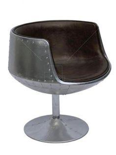 Aviator Arne Jacobsen Cup Chair Vintage Brown Leather Aluminium Spitfire | eBay