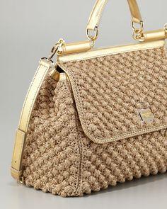 Dolce   Gabbana Miss Sicily Metallic Crochet Flap Bag 78cb5d4c747