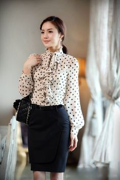 Long sleeve Dressy Chiffon Blouses | 2013 Summer New Europe style flounce design women fahion dress shirt ...