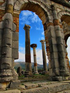 Volubilis is a partly excavated Roman city in Morocco.  It was developed from the 3rd century BC onwards as a Phoenician (and later Carthaginian) settlement. (by mikemellinger)