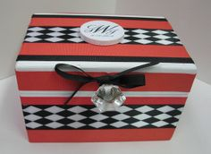 Newlywed Recipe Box Harlequin Pattern by RibbonMade on Etsy, $35.00