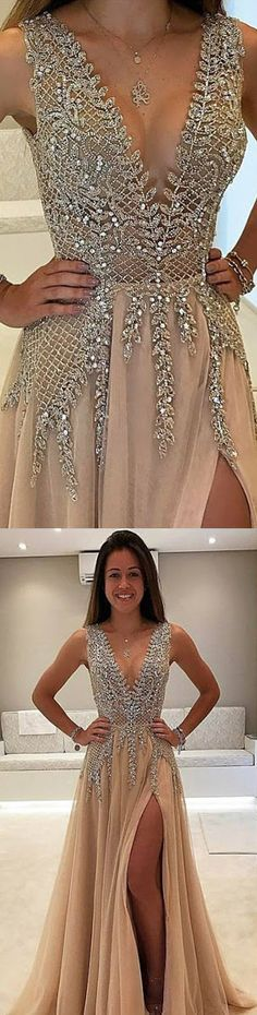 champagne long split side prom dresses, prom dresses long, prom dresses with appliques, vneck prom dresses 2017