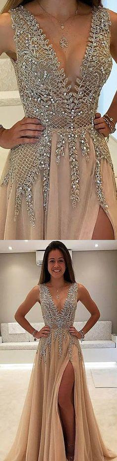 champagne long split side prom dresses, prom dresses long, prom dresses with appliques, vneck prom dresses 2017