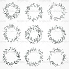 photoshop flower wreath | Hand Drawn Wreath Brushes Pack - Free Photoshop Brushes at Brusheezy!