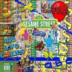 Sesame Street Digital Scrapbook Kit | FrogjunkieesCreativeCreations - Digital Art  on ArtFire