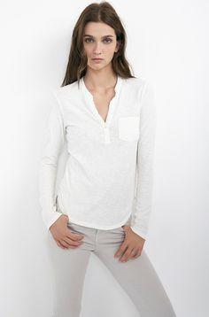 VELVET By Graham & Spencer Padma Long Sleeve Cotton Slub Half Placket Top S $108 #VelvetbyGrahamSpencer #Tee #Casual