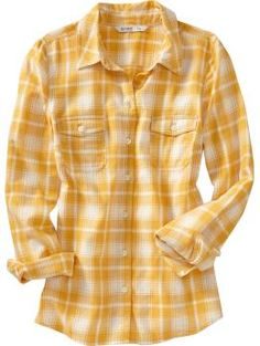 I gotta have this yellow flannel shirt! Will look great with jeans & be very comfy!