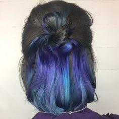 22 Spellbinding Hidden Hair Color Ideas for Women Hair Color Ideas hair color streaks ideas Hair Color Streaks, Hair Color Blue, Hair Dye Colors, Hair Highlights, Peekaboo Hair Colors, Blue Peekaboo Highlights, Caramel Highlights, Hair Color Dark Blue, Chunky Highlights