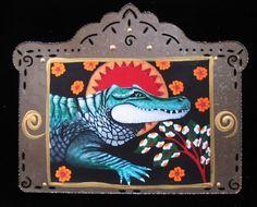 Saint Alligator Animal Art Print Collage using by christinamiller Christina Miller, Collage, Inspire, Art Prints, Unique Jewelry, Handmade Gifts, Animals, Vintage, Etsy
