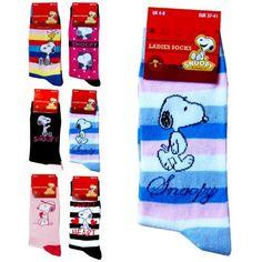 Ladies & Girls Super Soft Colourful Snoopy Cartoon Socks (Blue & Pink Stripes):Amazon.co.uk:Clothing