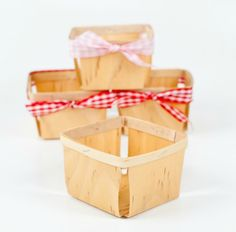 Wood, square pint sized berry baskets make the perfect container for favors, food, and treats for birthdays, showers, or weddings! Would be so cute for Strawberry Shortcake party or backyard picnic or BBQ. Use them for storage, display, crafts and packaging, and of course berries!Looks great lined with our checked glassine paper!These baskets measure 4in x 4in x 2 1/2 in.