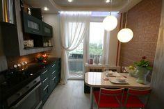 черная белая кухня 8 кв м