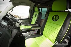 VW T5 with Black & Green Leather Seats
