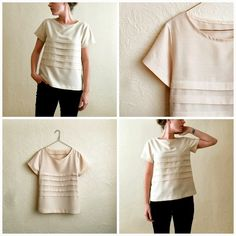 top in a light-weight, cream-coloured, opaque woven fabric