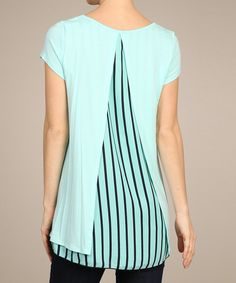 Loving this SELFEE Blue & Black Stripe Back-Panel Hi-Low Top on #zulily! #zulilyfinds