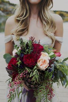 The most perfect romantic bouquet. Marsala, blush, maroon, evergreen.