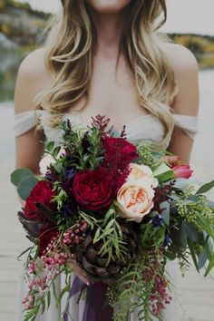 The most perfect romantic bouquet. Marsala, blush, maroon, evergreen.