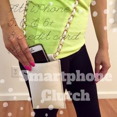 White Faux Leather Smartphone Clutch with Chain Only white available! Solid Chain And Faux Leather Strap Accented Smartphone Clutch in Dusty Rose. H:6.3 L:4.2 W:0.7 Chain Strap. Faux Leather. 1 Compartment 3 Credit Card Holder. Can it iPhone 5s, 6, and 6PLUS. No Paypal. No trades. 10% discount on all bundles made with the bundle feature. No offers will be considered unless you use the make me an offer feature.     Please follow  Instagram: BossyJoc3y  Blog: www.bossyjocey.com Bags Clutches…