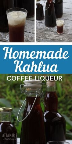 This homemade kahlua recipe starts with freshly brewed coffee instead of instant coffee granules. It's great for gift giving or simply indulging yourself. Kahlua Drinks, Kahlua Coffee Liqueur, Yummy Drinks, Coffee Syrups, Bourbon Drinks, Coffee Drinks, Yummy Food, Homemade Alcohol, Homemade Liquor