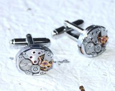 ZENITH Men Steampunk Cufflinks - Made with Genuine Zenith Vintage Watch Movement. Available at TimeInFantasy, $120.00