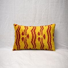 Soft Hand Woven - Silk Velvet Ikat Pillow Cover Yellow Red Color