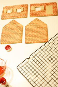 how to paint bricks onto your gingerbread house