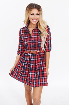 Red/Navy Plaid Belted Dress - Dottie Couture Boutique