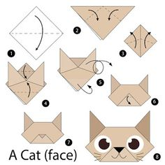 fácil crianças step by step instructions how to make origami A Cat. step by step instructions how to make origami A Cat. Gato Origami, Instruções Origami, Origami Ball, Origami Bookmark, Origami Butterfly, Paper Crafts Origami, Origami Flowers, Origami Ideas, Origami Folding