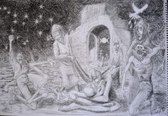 """""""Aleppo"""" sketch to finalise composition."""