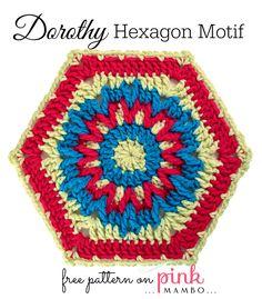 Dorothy Crochet Hexagon Motif freebie, thanks so xox